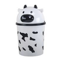 Cute Lessive Cow Design Plastic Flip-on Waste Bin