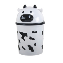 Cute Milk Cow Design Plastic Flip-on Waste Bin