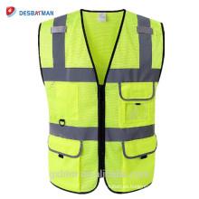 Logotipo personalizado modificado para requisitos particulares Chaleco de seguridad de alta visibilidad del chaleco de seguridad Chaleco de alta visibilidad ANSI reflexivo de la malla amarilla con los bolsillos de la identificación