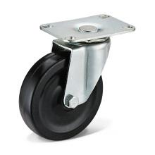 Las ruedas giratorias de goma negra