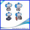 Válvula de esfera pneumática do corpo 3PCS do aço inoxidável DN50 com Q611F-16P