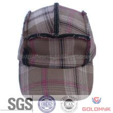 Custom Made Checked Fabric Military Cap