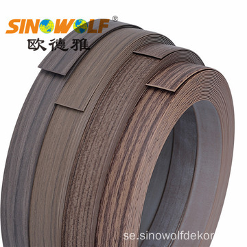 Wood Finish Woodgrain PVC Edge Banding För Möbler