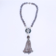 Ethnic Pretty Chunky Beads Necklace with Tassel