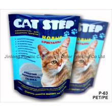 Pet / PE Stand up Cat Litter Pouch com Tear Notch