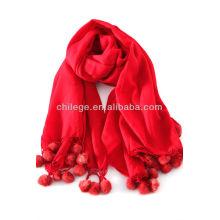 cashmere fur balls pashmina wraps