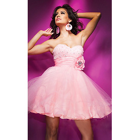 Lovely A-line Sweetheart Strapless Mini Organza Beading Manmade Flowers Cocktail Dress