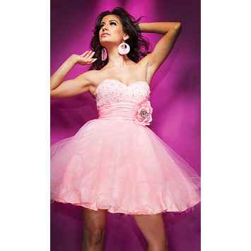 Lovely A-line Sweet Strapless Mini Organza Beading Manmade Flowers Cocktail Dress