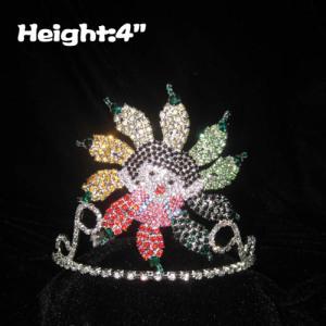 Coroas do concurso de menina de pimenta de cristal de altura de 4 polegadas