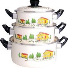 Enamel Cookware 3PCS Set Casserole 16-20cm