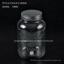 3L de vidro gravado Juice Jar com torneira / Big Capacity Glass Mason Jar com escala