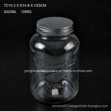 3L Embossed Glass Juice Beverage Jar with Tap / Big Capacity Glass Mason Jar with Scale