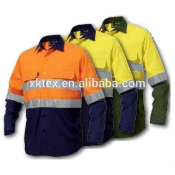 Roupa 100% amarela do Anti-mosquito da marinha amarela da visibilidade do algodão para o trabalhador das florestas