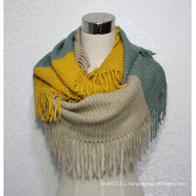 Women Fashion Color Block Acrylic Knitted Winter Infinity Scarf (YKY4392)