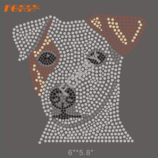 Motivo a strass Hot Fix di Bull Terrier Crystal Dog