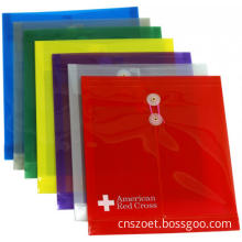 Clear or Coloured Plastic PP/PVC Drawstring Envelope File Bag/Folder with String or Button