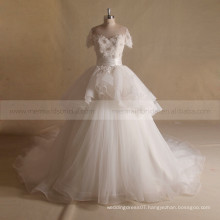 Elegant scoop neck handmade sequin baeds flowers ball wedding party dress with a long train