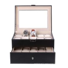 Boîte de montre 16 Slots Luxry avec couches doubles pour affichage