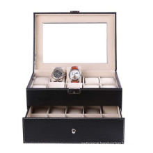 16 Slots Luxry Watch Box with Double Layers for Display
