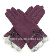 fashion cashmere gloves with fur cuff
