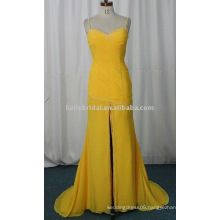 Yellow Chiffon Ruffle and Beaded prom dress pregnant women dress Polyester / Cotton Material and Chiffon Fabric Type prom dress
