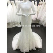 Fábrica de Guangzhou fotos reales por encargo de lujo Frence encaje 3/4 mangas de tren largo vestido de boda de la sirena de Arabia Saudita