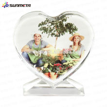 Fashion Love shape sublimation cadre de photo en cristal drôle pour cadeau de mariage