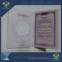 Anti-Counterfeiting Hologram Booklet with Intaglio Printing