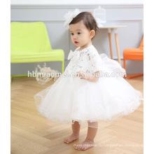 3М,6м,9м малыш девушка рукавов бантом вечерние наряды платье белого кружева каппа тюль паффи платье новорожденных девочек платье