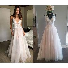 V cuello vaina playa vestido de boda