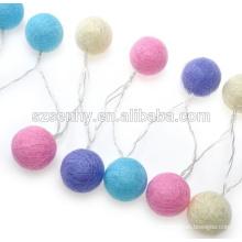 Bolas de luz de cordão de algodão coloridas de Natal