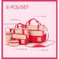 2017 oferta de fábrica conjuntos de saco de fraldas 5 pcs set Alta capacidade de moda saco de fralda signle Ombro diagonal cruz saco de fraldas do bebê