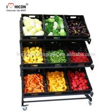 Bezahlt werden für attraktive, kostengünstige und funktionelle Lebensmittelgeschäft Gondel Regale Gemüse und Obst Display Regal