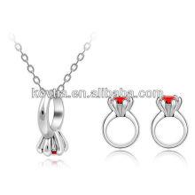 Ruby Ring Schmuck Set Halskette und Ringe Schmuck Set Homosexuell Männer Ring Schmuck Set