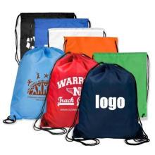 Custom Printed Logo 210d Polyester Drawstring Backpack Laundry Bag