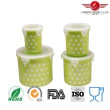 Caja de almacenamiento plástica cilíndrica de la comida 4PCS con la tapa hermética