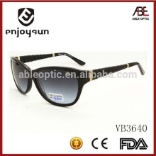 high-class custom logo acetate sunglasses with leather wrapped temple