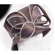Custom Fashion Khaki Ladies' Church Hats With Polyester Satin , Stunning Diamond