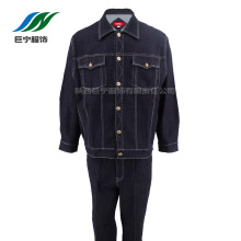 Man's Black Long Denim Coat