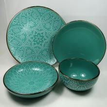 Цветная глазурь, набор посуды с золотой оправой