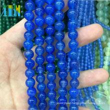 jewelry stone beads round natural darkbule glass beads jade stone