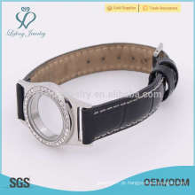 Relógio de couro pulseira locket, pulseira de couro jóias pulseiras