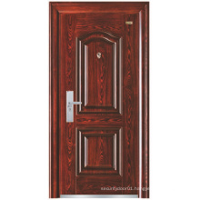 Red Walnut Colour Simple Design Steel Security Door