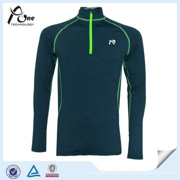 Homens do poliéster de Softshell 1/4 de camisolas reflexivas do fecho de correr para esportes