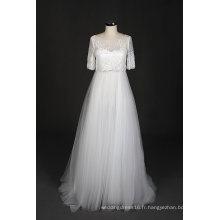 Nouveau design une ligne dentelle soirée bal robe de mariée plage