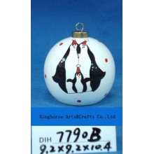 Round Ceramic Penguin Bauble for Christmas Tree Decoration