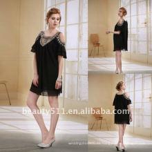 Astergarden nuevo diseño Emma Roberts estilo rebordeado negro vestido de fiesta de gasa AS032-6