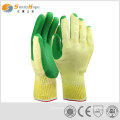 durable green solid latex gloves for workman
