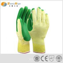 Durable guantes de látex sólido verde para el trabajador