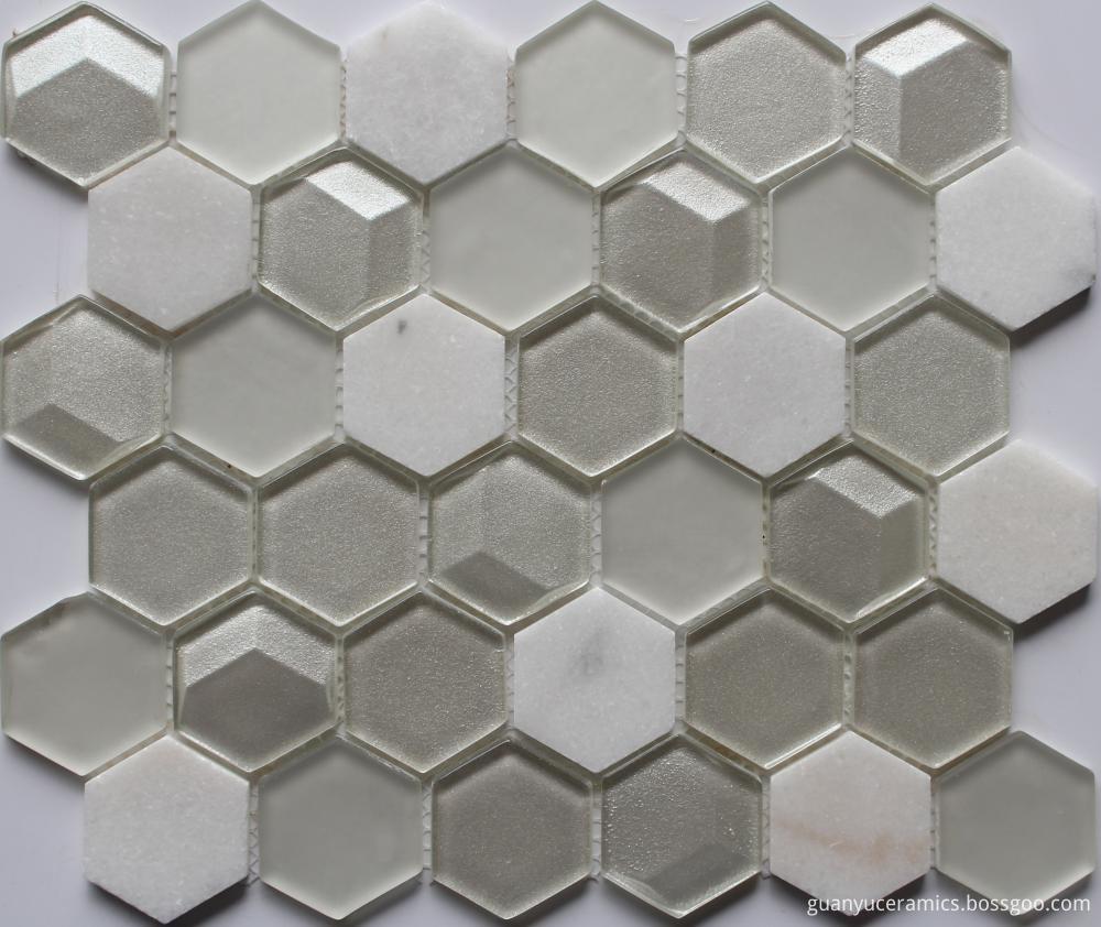 3D Effect Mini Hexagon Mosaic Tile